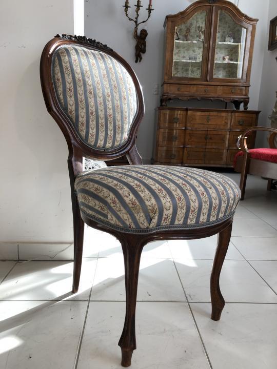 Biedermeier Sessel Nussholz Medaillon Stuhl Original X1506