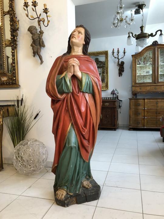 Alte Heiligenfigur Heilige Anna um 1870 betend Holzfigur X1622