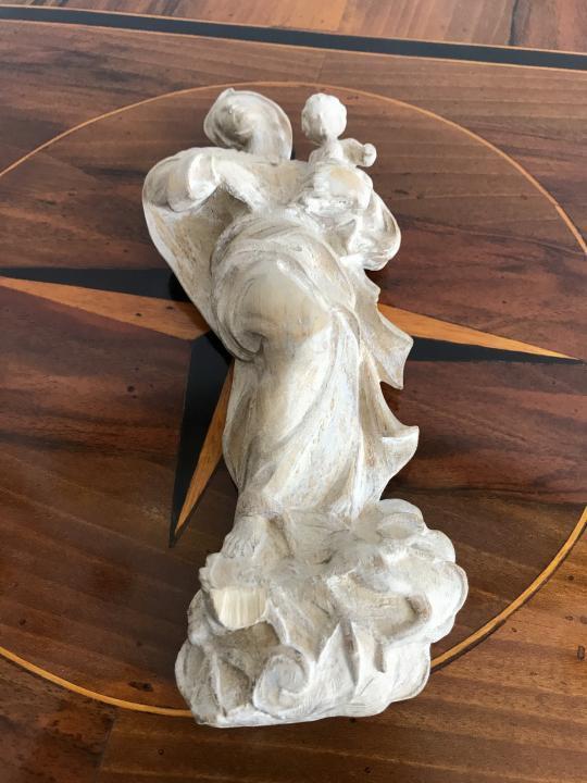 Barock Stil Skulptur Heiligenfigur Madonna mit Jesuskind handgeschnitzt gehöhlt