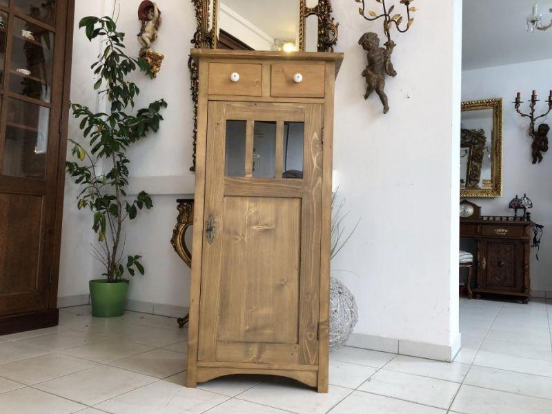 Bäuerliches schmales Vertiko bäuerlich Naturholz Halbschrank - X1729