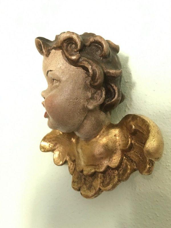 Engelskopf Holzengel golden Kunstobjekt Holzgeschnitzt W2210