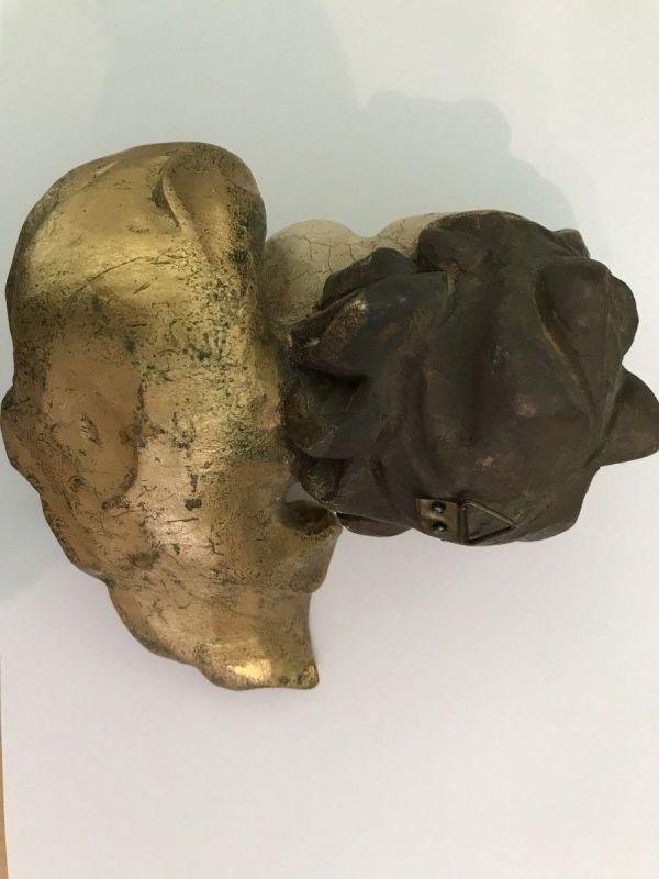 Engelskopf Holzengel golden Kunstobjekt Holzgeschnitzt W2211