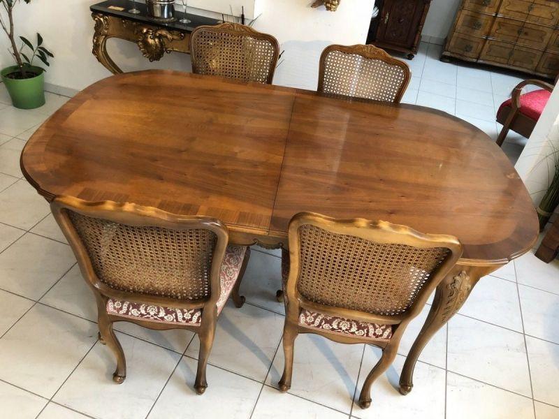 Hübsche Chippendale Sitzgruppe Sitzensemble 5 teilig Rattan - X2033