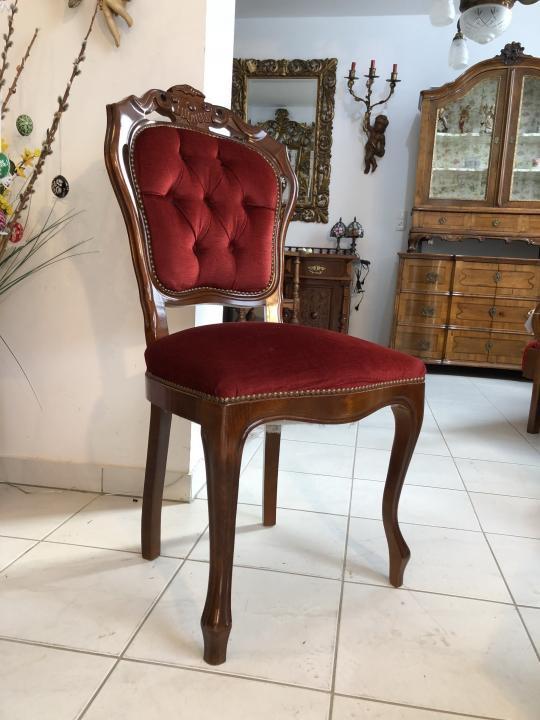 Zierlicher Sessel Stuhl Samtbezug Barockstil Barock X1424