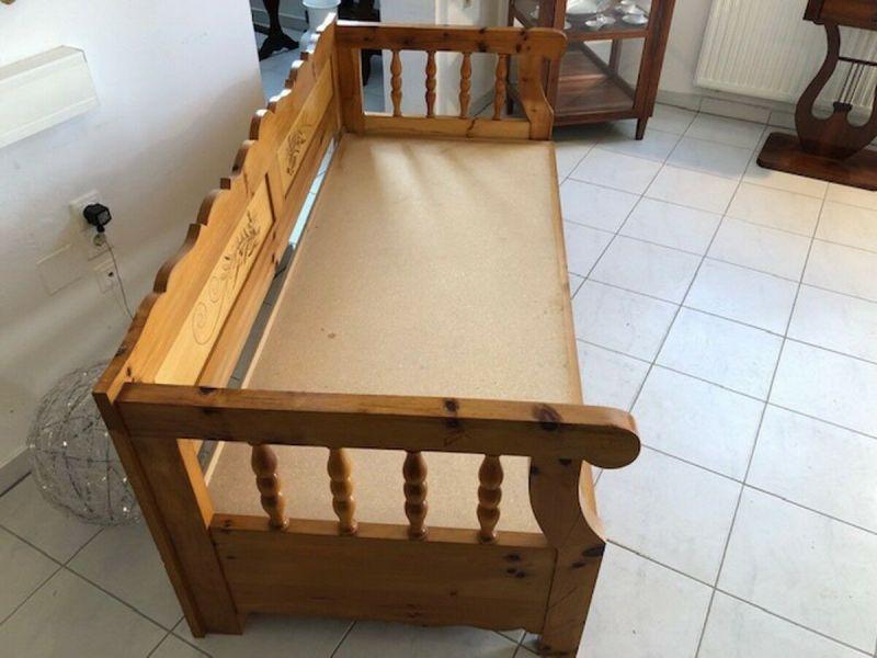 Massives Zirbenholz Sofa Couch EInzelbett Bettbank Z1072 2