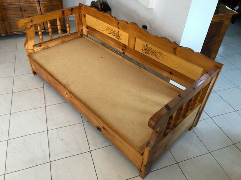Massives Zirbenholz Sofa Couch EInzelbett Bettbank Z1072 3