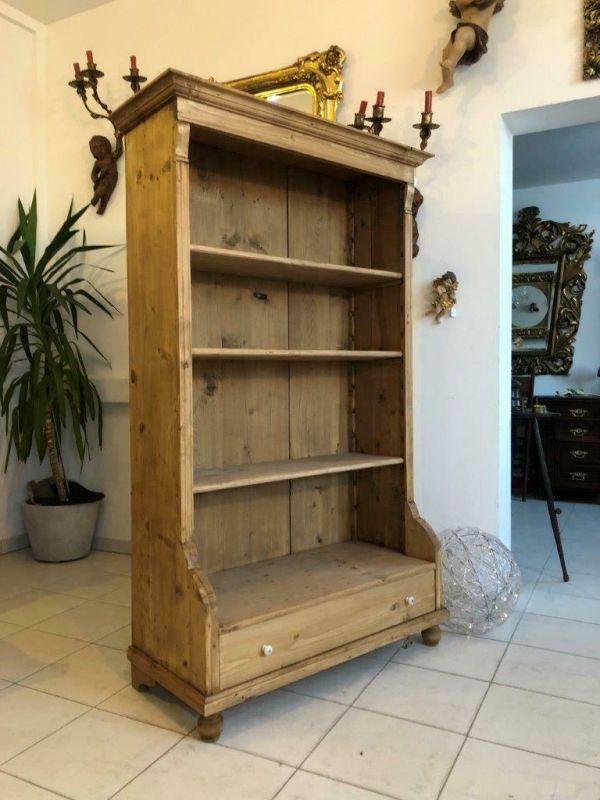 Altes Bücherregal Stellage Gründerzeit Bücherschrank Naturholzmöbel Z1224 2