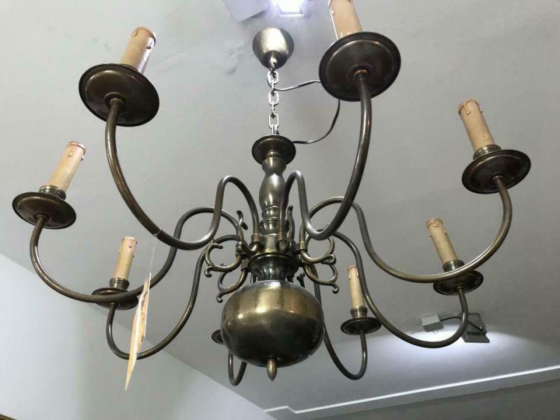 Hübscher 8 flammiger Lüster Polenluster Leuchter Metall W2054