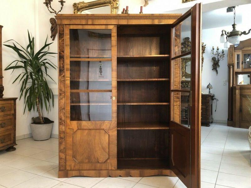 Restaurierte Spätbiedermeier Vitrine Bücherschrank Glasvitrine Z1436 2