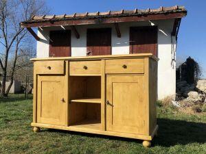 Bäuerliche Anrichte Sideboard Kommode Naturholz Ro1006