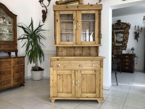 Restaurierte Jugendstil Küchenkredenz Naturholzschrank Vitrine Z1393