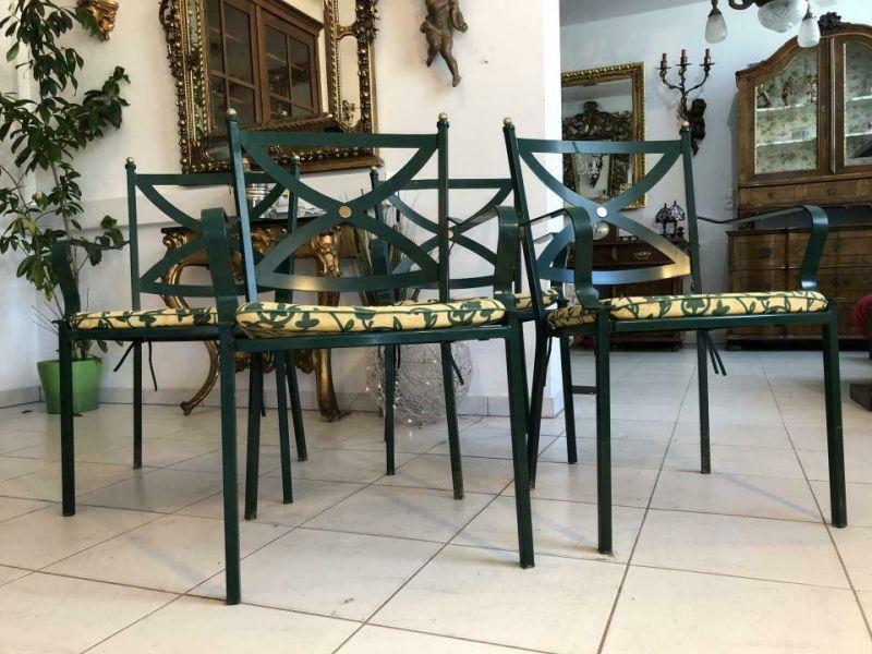 4er Set hübsche & stabile Gartensessel Metallstühle mit Auflage X1684