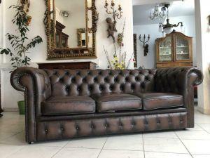 Chesterfield Clubsofa Diwan Couch Antikbraun Zigarrenbraun X1460