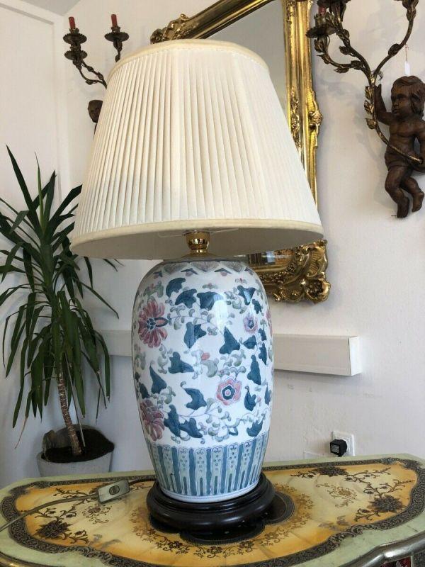 Prunkvolle Stehlampe Stehleuchte Porzellanleuchte Stoffschirm Z1484