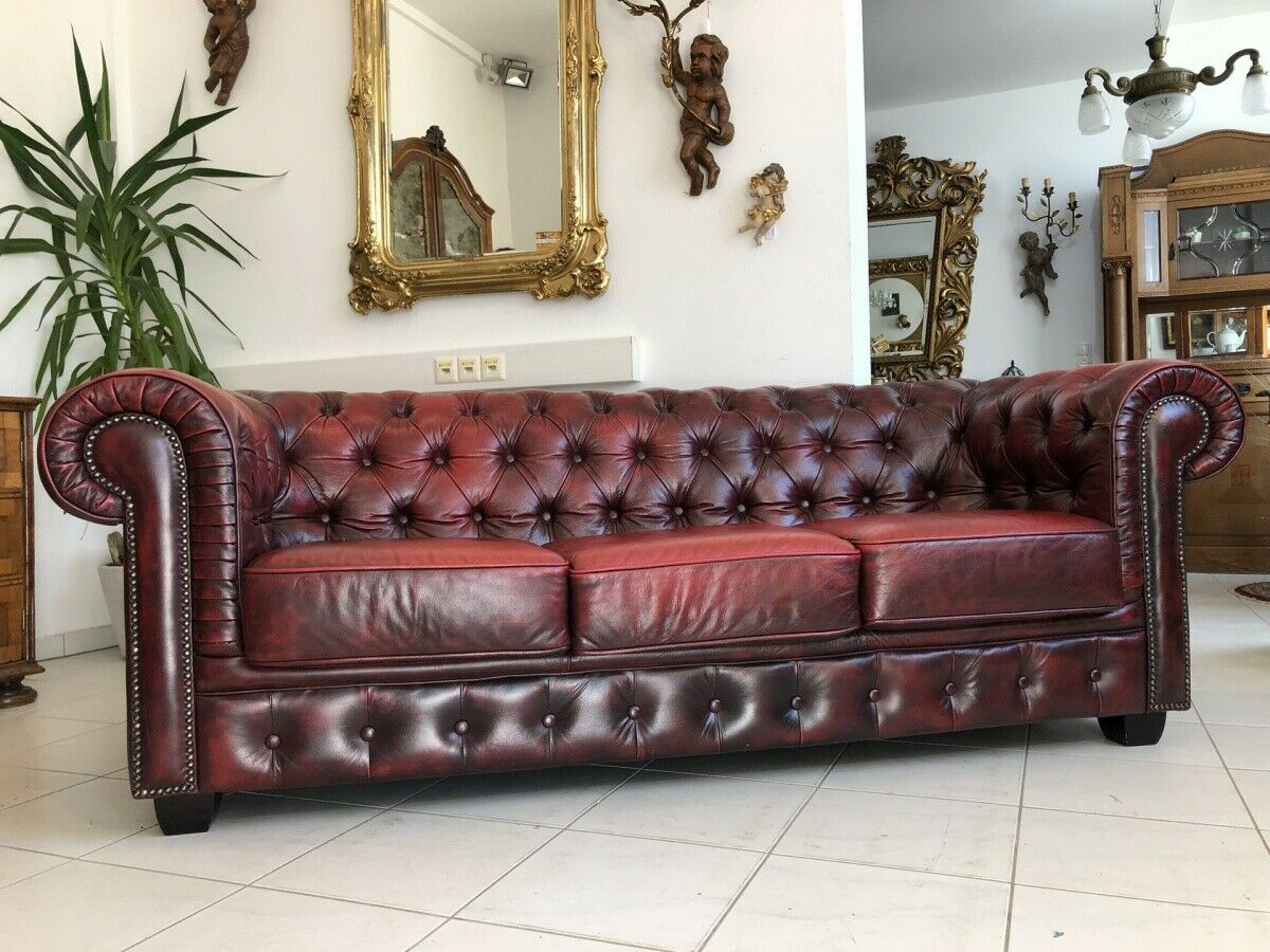 Chesterfield 3er Clubsofa Diwan Couch Oxblood Z1503