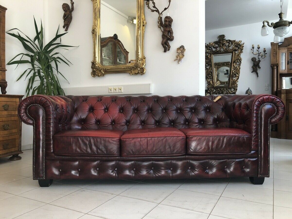 Chesterfield 3er Clubsofa Diwan Couch Oxblood Z1504