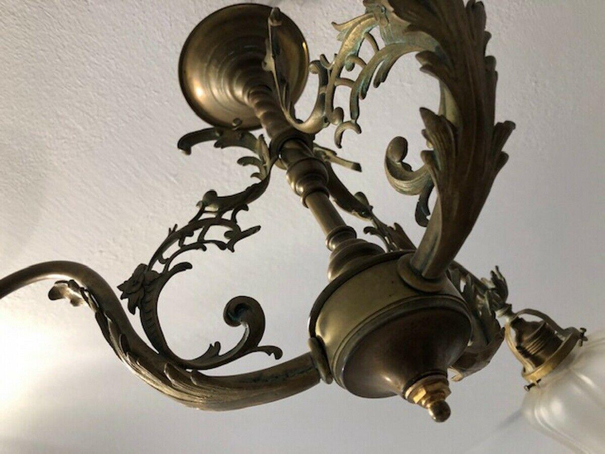 Originaler Historismus Leuchter Deckenleuchter Messing X2611