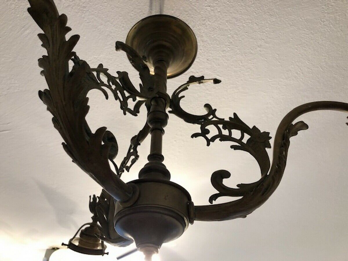 Originaler Historismus Leuchter Deckenleuchter Messing X2611 1