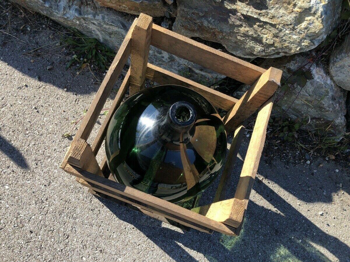 Alte Glasflasche Weinballon, Gärballon, Schnapsflasche X2434 1