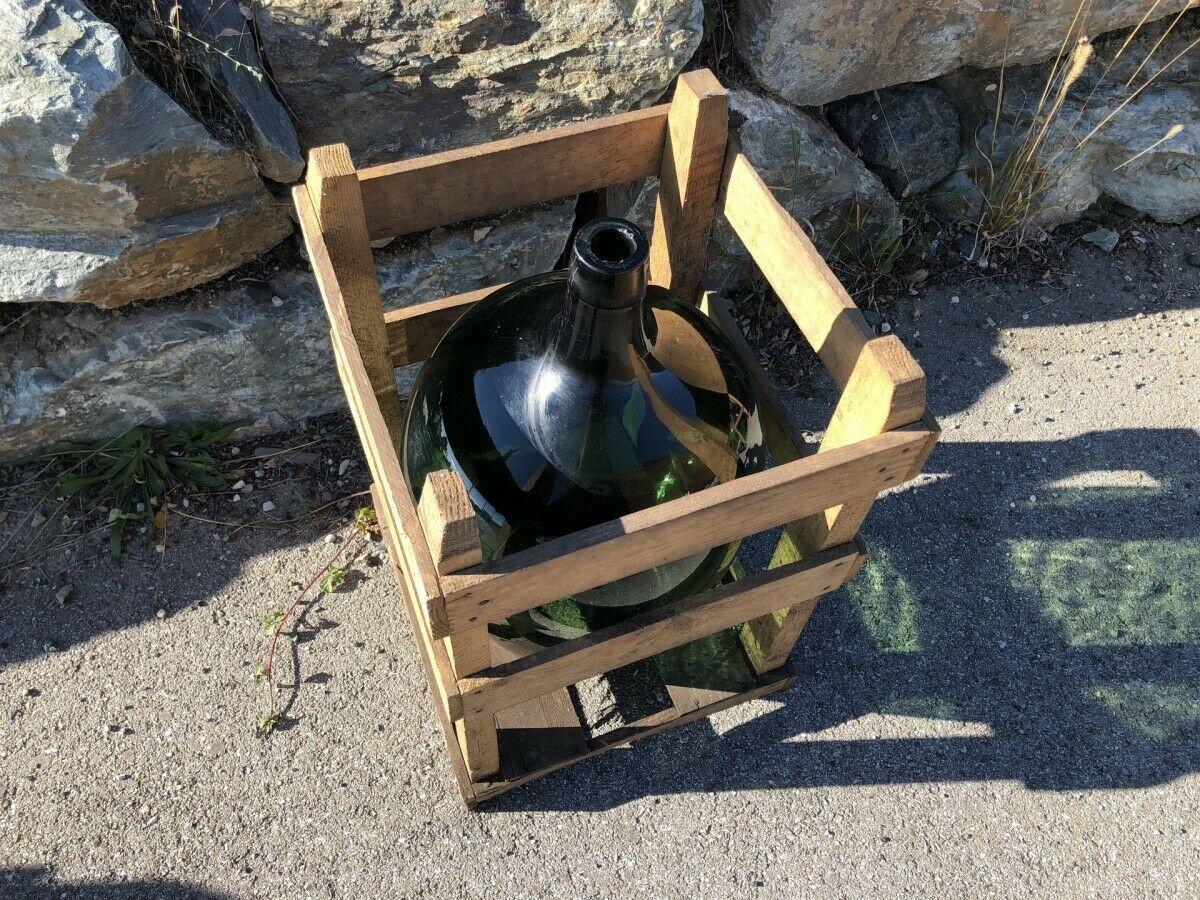 Alte Glasflasche Weinballon, Gärballon, Schnapsflasche X2434 2
