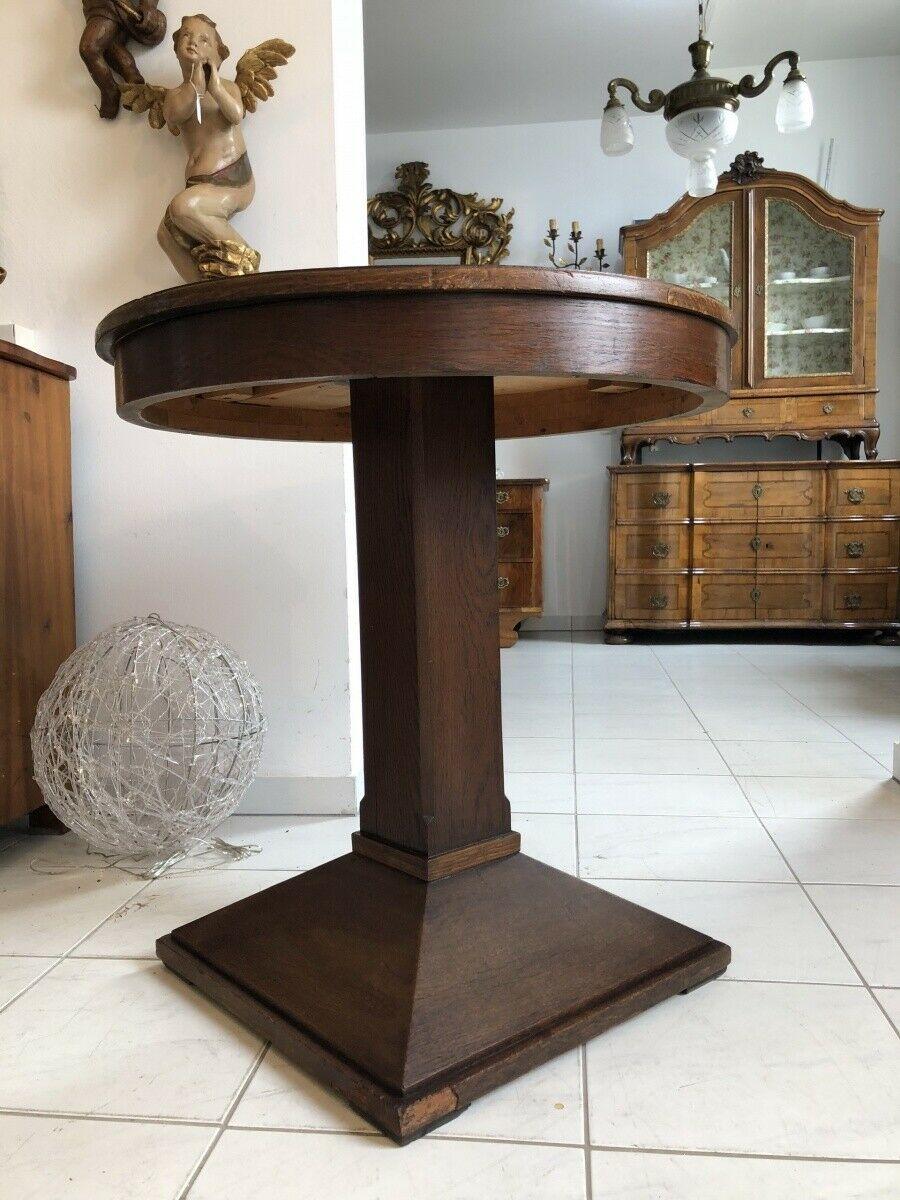Jugendstil Tisch Beistelltisch Tischerl rund braun X2363