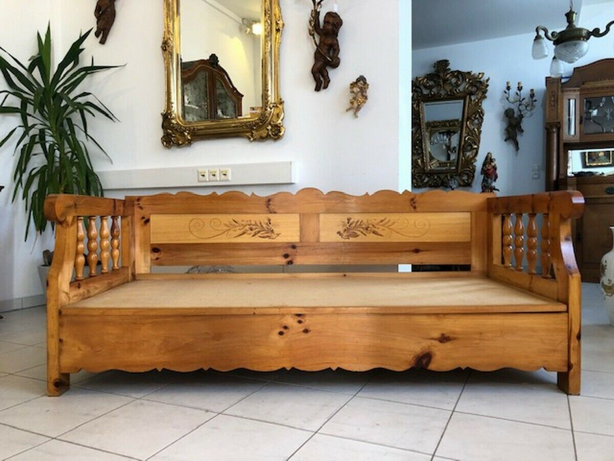 Massives Zirbenholz Sofa Couch EInzelbett Bettbank Z1072