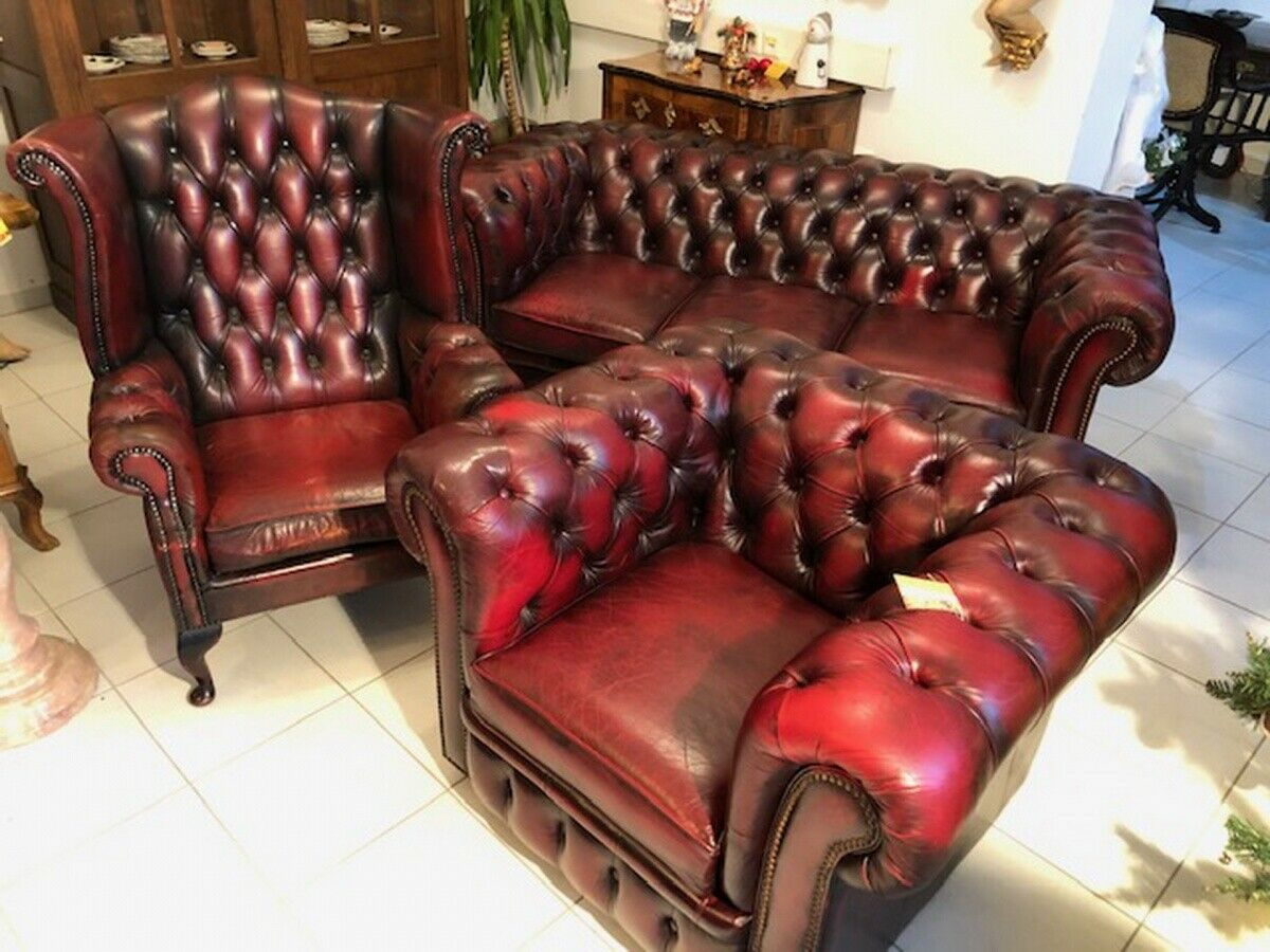 Exclusives Chesterfield 3er Ensemble Sofa Ohrensessel Clubfauteuils X2581