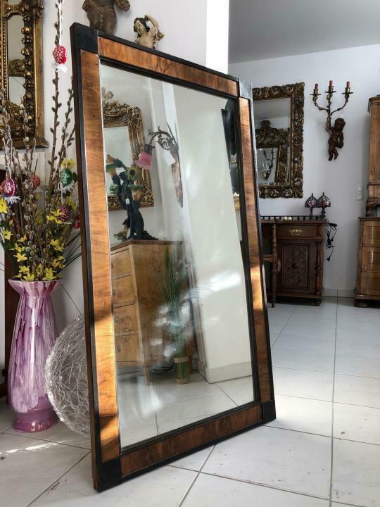 Biedermeier Spiegel Wandspiegel Original Nussholz Furniert - X1392