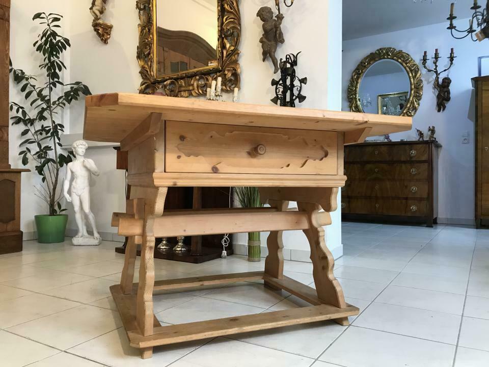 Massiver Tisch Bauerntisch Jogltisch Landhaustisch Fichtenholz W3347