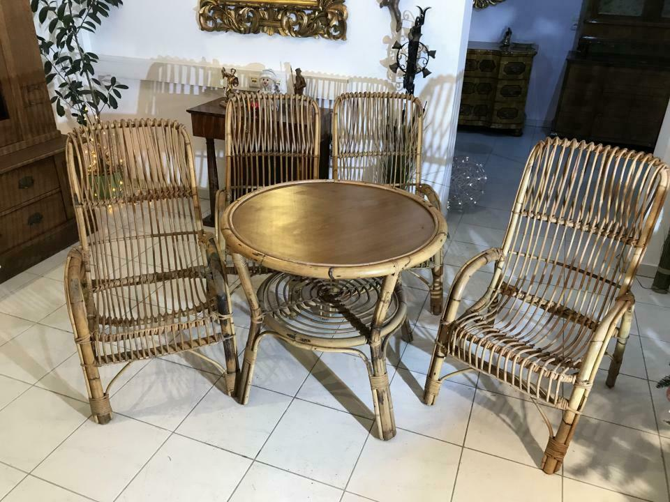 Uriges Sitzensemble Natur Rattan Naturmaterial Tisch Sessel W3435