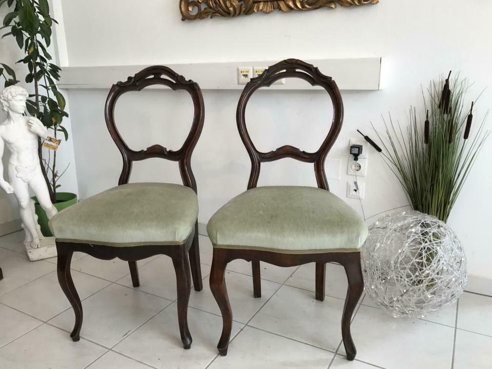 Hübscher Biedermeier Sessel Nussholz Stühle W1865 1