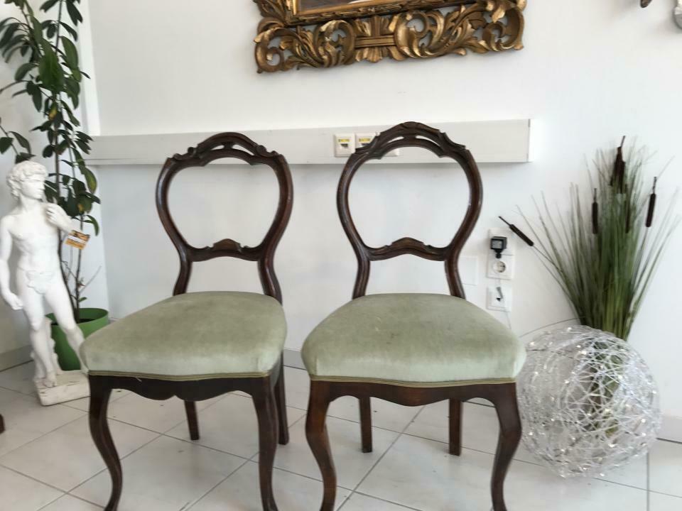 Hübscher Biedermeier Sessel Nussholz Stühle W1865 2