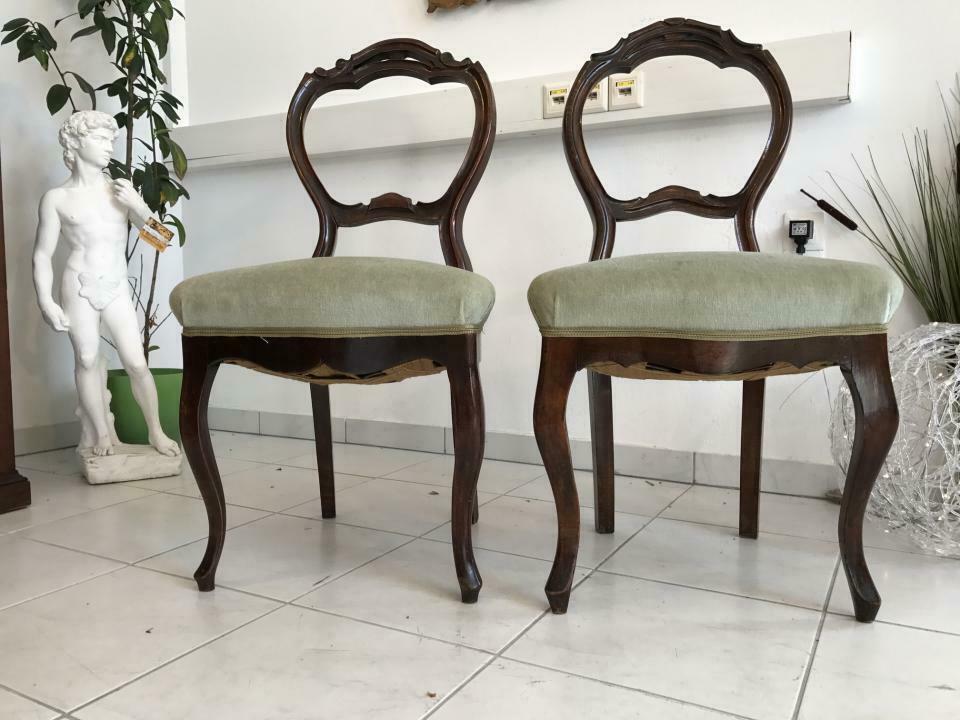 Hübscher Biedermeier Sessel Nussholz Stühle W1865 3