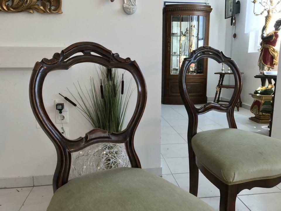 Hübscher Biedermeier Sessel Nussholz Stühle W1865 4