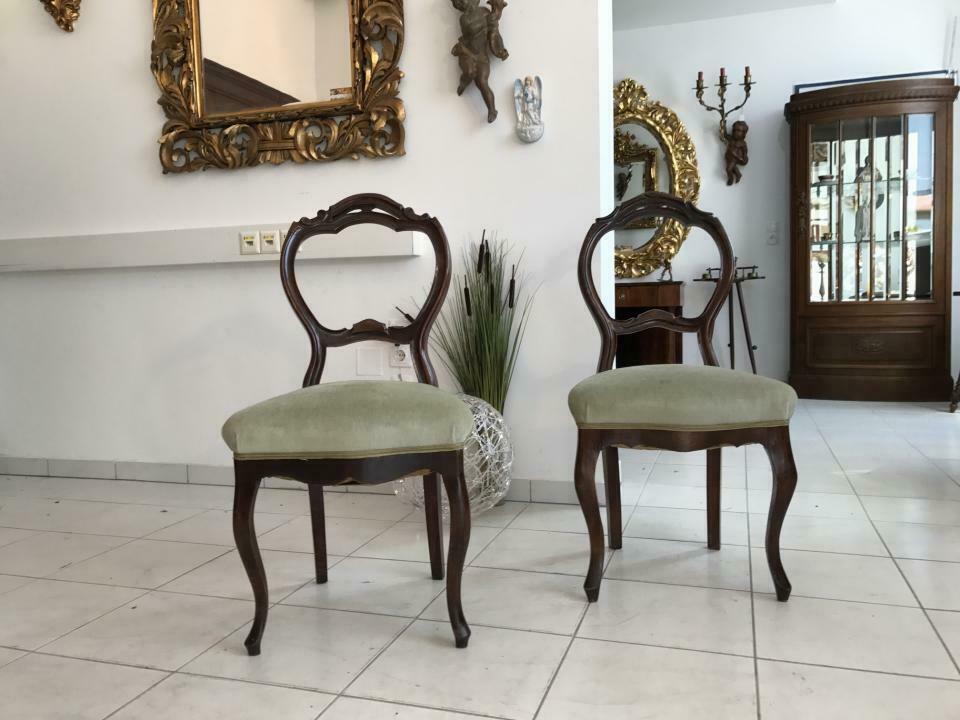 Hübscher Biedermeier Sessel Nussholz Stühle W1865 8