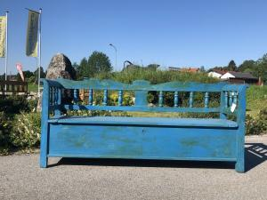 Biedermeier Truhenbank Küchenbank Sitzbank Naturholz bemalt Heu1004