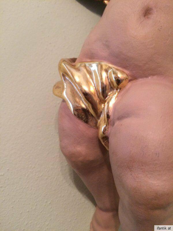 Vergoldeter restaurierter Engel Engelsfigur Himmelsgeschöpf Rarität 0001 1