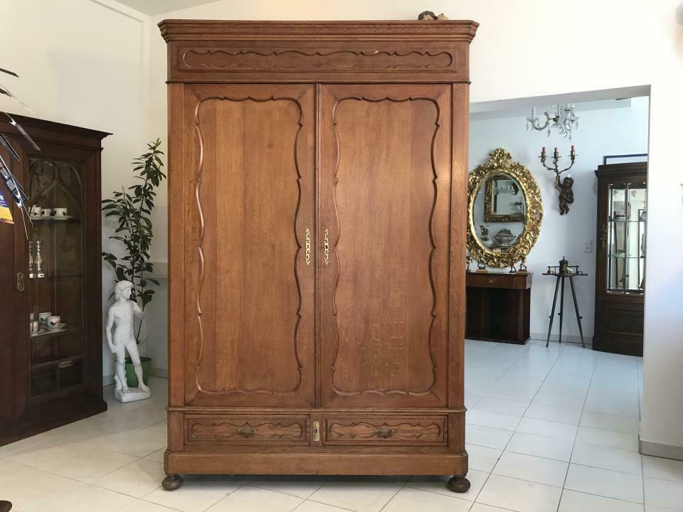 Original Biedermeier Garderobenschrank Kleiderschrank Eiche W1781 0