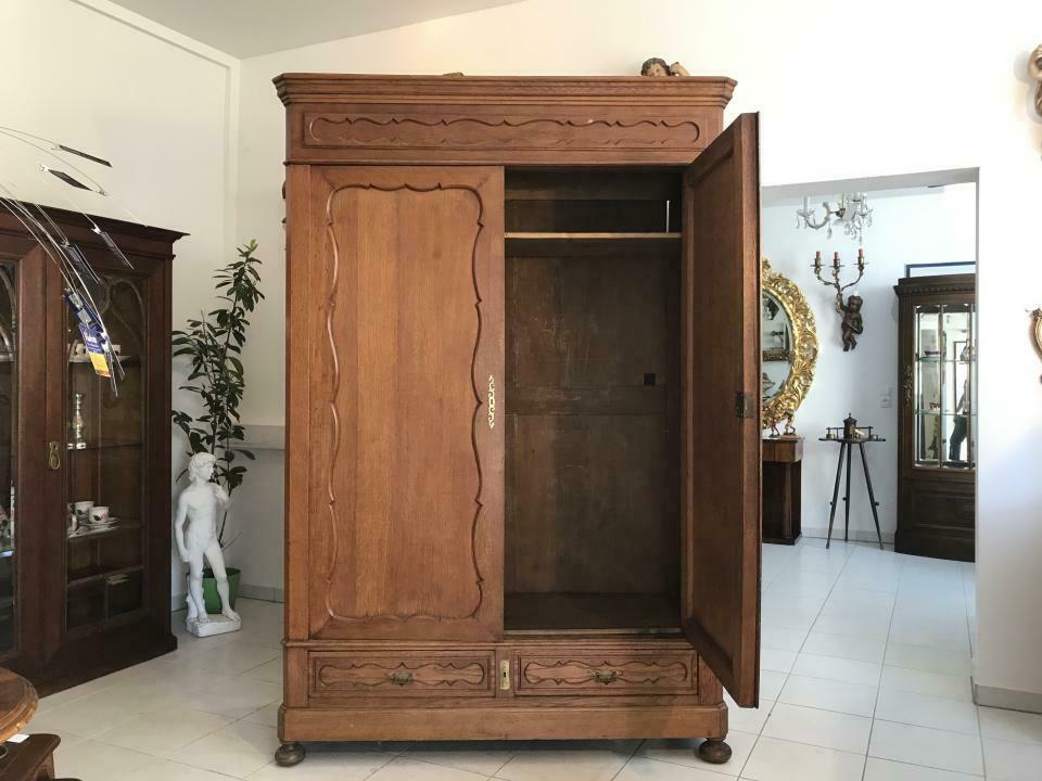 Original Biedermeier Garderobenschrank Kleiderschrank Eiche W1781 1