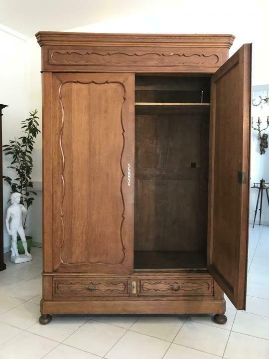 Original Biedermeier Garderobenschrank Kleiderschrank Eiche W1781 6