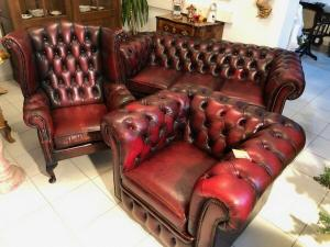 Exclusives Chesterfield 3er Ensemble Sofa Ohrensessel Clubfauteuil X2581