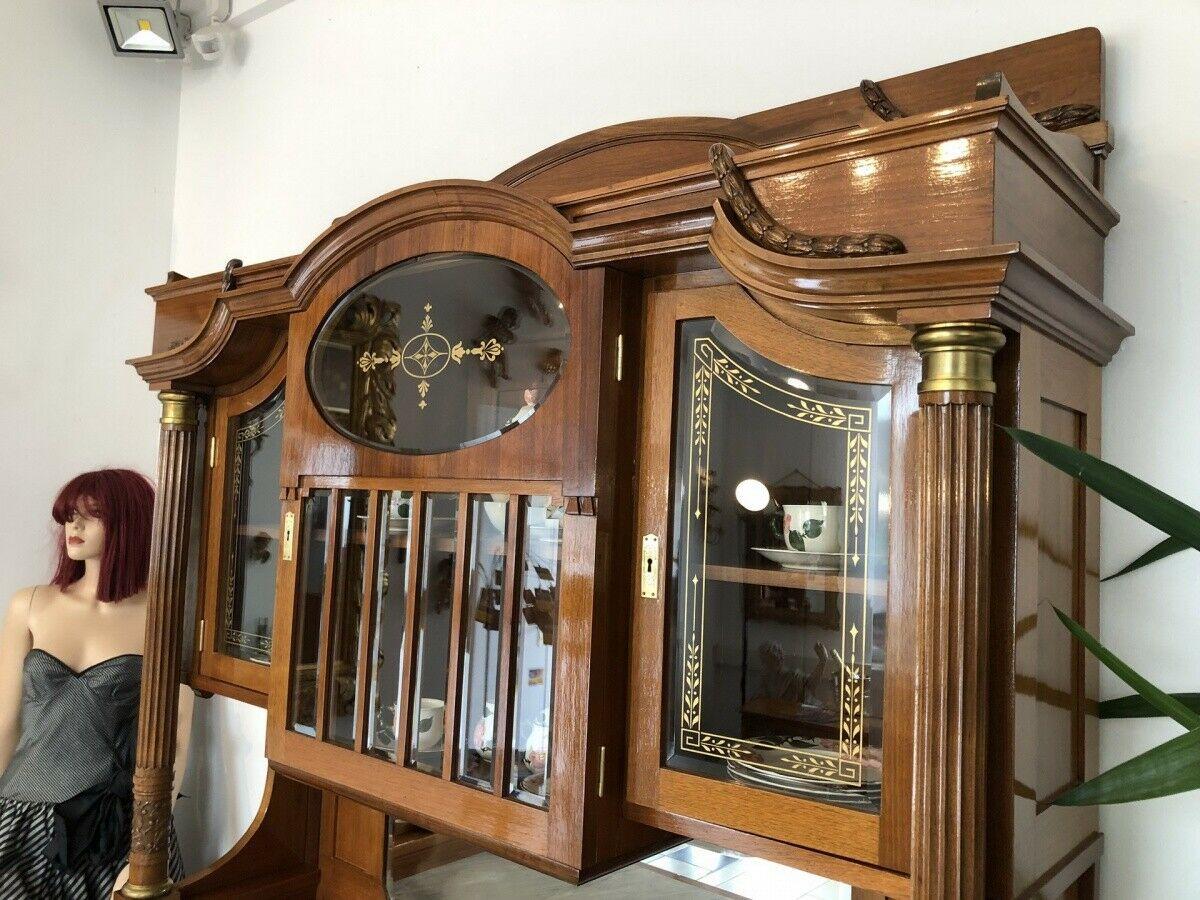 Restaurierte Jugendstil Säulenanrichte Aufsatzbuffet Vitrine Z1625 1
