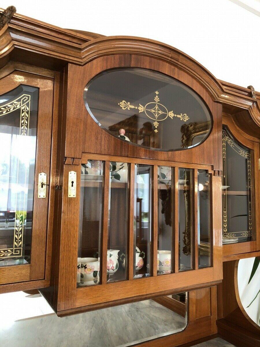 Restaurierte Jugendstil Säulenanrichte Aufsatzbuffet Vitrine Z1625 2