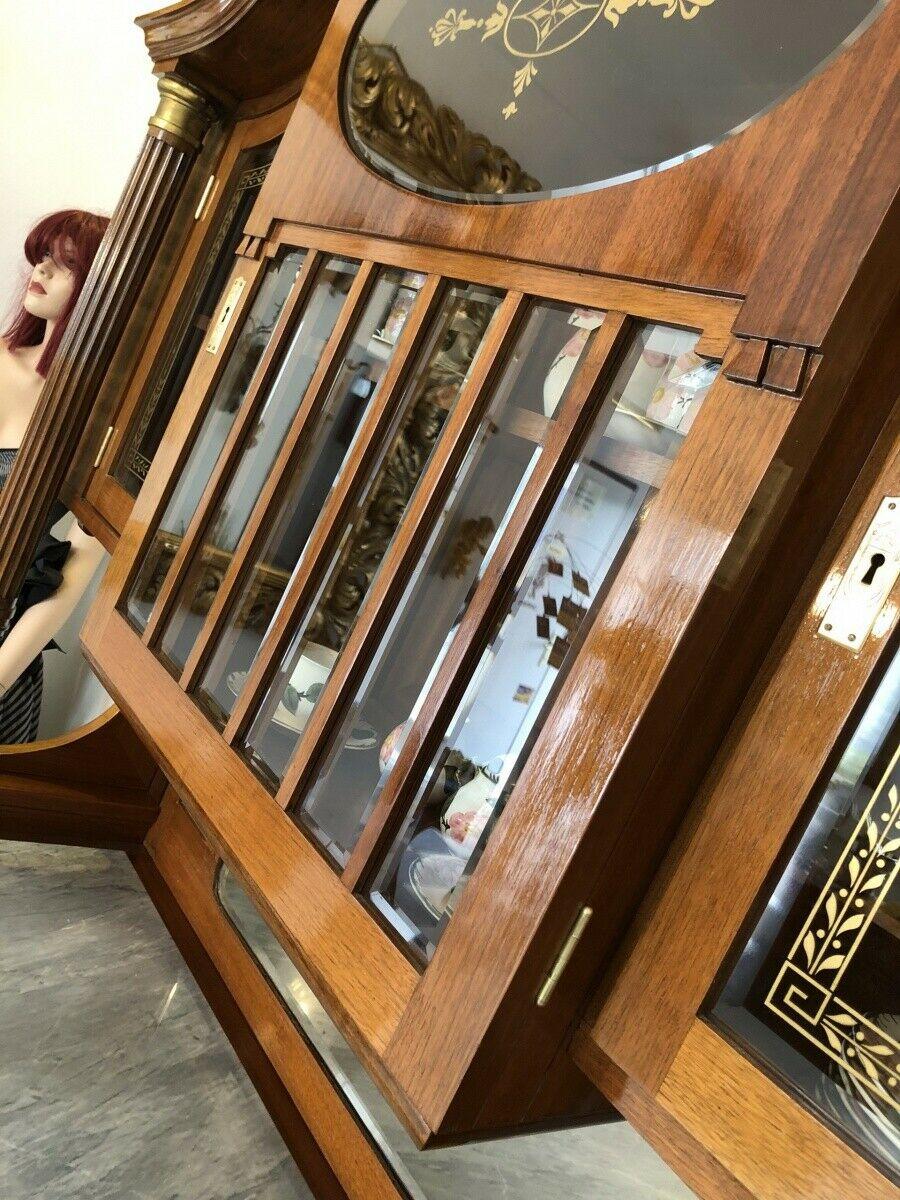 Restaurierte Jugendstil Säulenanrichte Aufsatzbuffet Vitrine Z1625 3