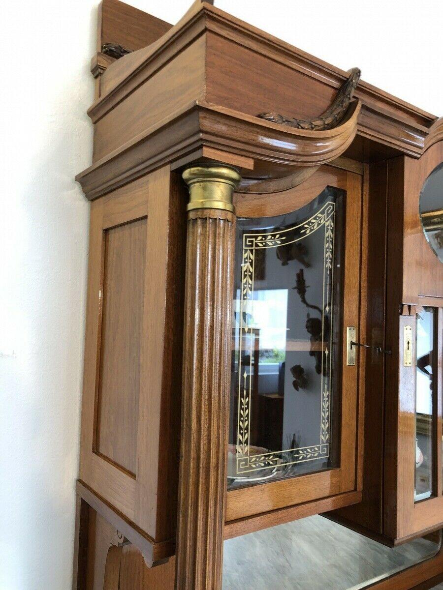Restaurierte Jugendstil Säulenanrichte Aufsatzbuffet Vitrine Z1625 5