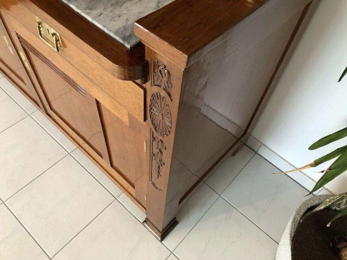Restaurierte Jugendstil Säulenanrichte Aufsatzbuffet Vitrine Z1625 7