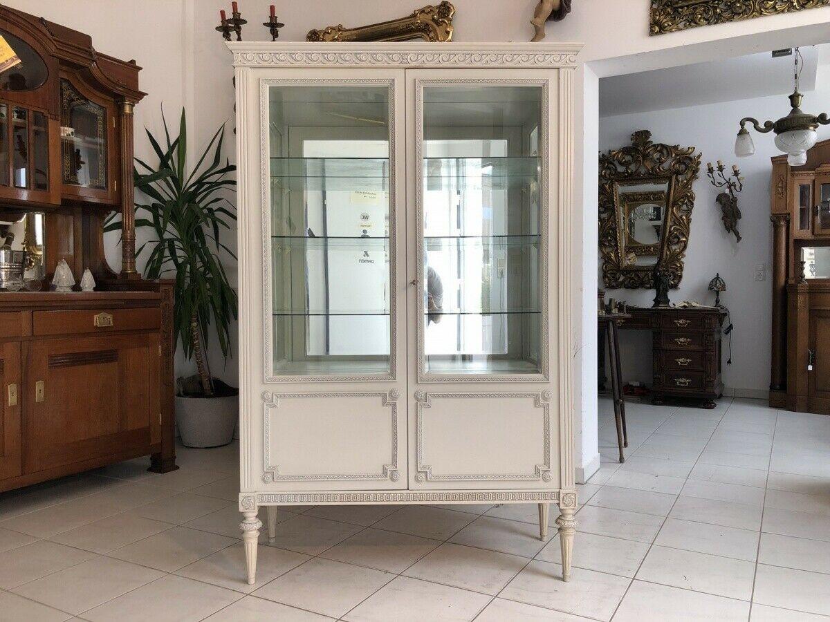 Prächtige Klassizismus Bücherschrank Vitrine Glasschrank Z1673 0