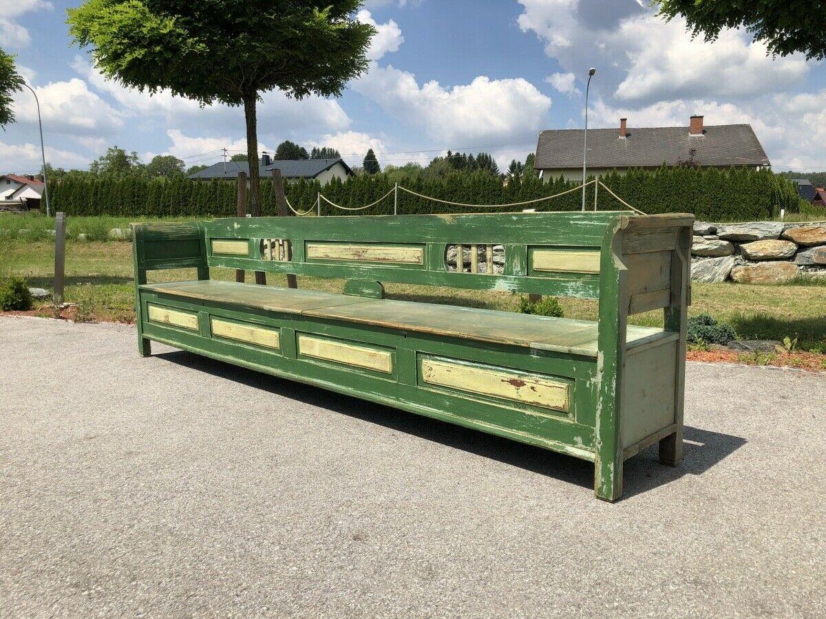 Riesige bunte Biedermeier Truhenbank Küchenbank Naturholz bemalt Z1679 0