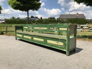 Riesige bunte Biedermeier Truhenbank Küchenbank Naturholz bemalt Z1679