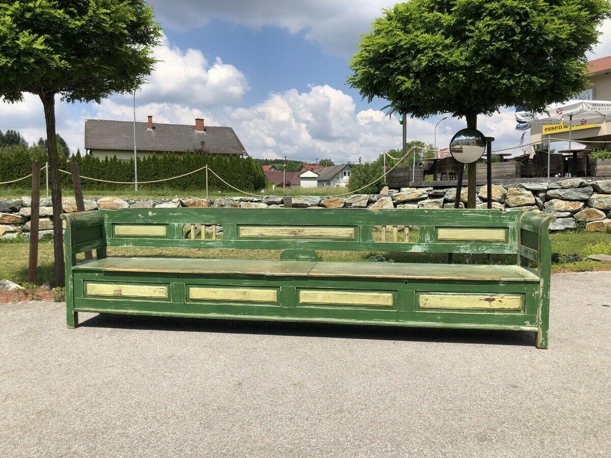 Riesige bunte Biedermeier Truhenbank Küchenbank Naturholz bemalt Z1679 1